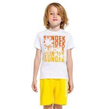 T-Shirt da bambino Sundek manica corta girocollo junior bianca stampa arancio