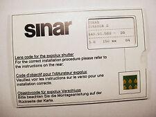 Sinar Expolux Shutter Lens Codes NEW