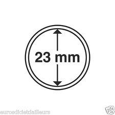 Capsules plastique rondes pour pièces de 1 euro diametre 23 mm