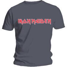 IRON MAIDEN - Classic Logo grey grau charcoal T-Shirt