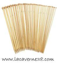 Paire d' Aiguilles à tricoter bambou 34 cm N° 2/3/5/6/7/10/12/20 tricot mercerie