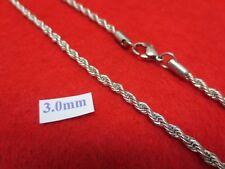 40.6cm-76.2cm 3mm Acero Inoxidable Plata Cadena de Cuerda Collar USA Vendedor