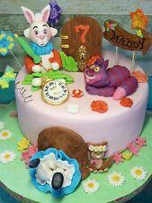 Alice in Wonderland, Rabbit,Cheshire Cat,birthday, handmade fondant cake toppers