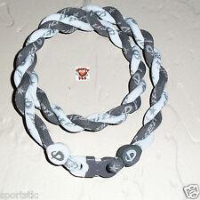 Phiten Tornado Necklace: Gray with White