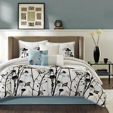 Elegant Blue Grey White Black Flocking Floral Comforter Set 7 pcs Cal King Queen