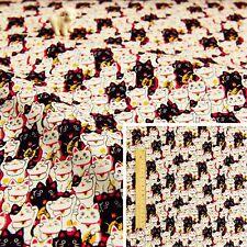 JAPANESE RED BLACK Meter/Squares Linen Fabric Oriental Kimono Animal Lucky Cats