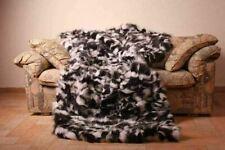 Black and white  Fox Fur Blanket Bedspread