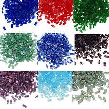 100 Miyuki Half Tila Two Hole Rectangle Glass Beads 5MM     Translucent Colors