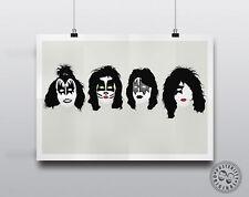 KISS - Minimalist Poster Silhouette Music Heads Minimal Wall Art Gene Ace Paul