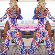 Womens Summer Striped Boho Evening Party Long Maxi Beach Dress Chiffon Dresses