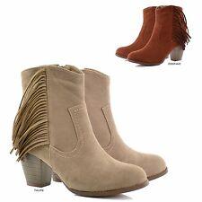 NEW Women Western Fringe Almond Toe Block Heel Ankle Boots Booties