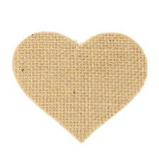 Jute Hessian Burlap Fabric HEART Die Cut Shapes - Pack of 10 - Natural
