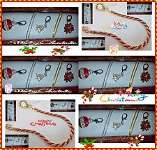 Christmas Rhinestone Crystal Removabl Charm Necklace & BRACELET Set LEATHER BOX