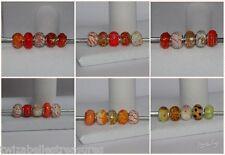 5 x Mixed Orange Charm Beads Murano Lampwork etc Fits European Bracelet