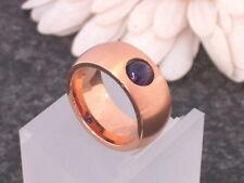 Edelstahl Ring Bandring Finger breiter Damen Rosegold Rotgold vergoldet Amethyst