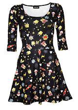 Christmas X-Mas Presents Snowmen Nutcrackers Heart Print 3/4 Sleeve Skater Dress