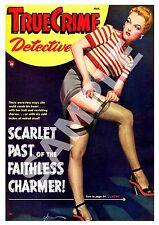 True crime  Detective :    Vintage Magazine cover,  Poster reproduction.