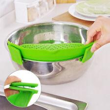 Cocina Extras Silicona Pan con Clip-On Snap Colador Escurridor Líquido Separate