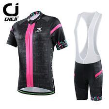 CHEJI Women's Cycling Bib Kit Short Sleeve Bike Jersey & Padded (Bib) Short Set