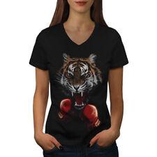 Tiger Boxer Guantes Animal Mujeres Escote en V Camiseta Nuevo | wellcoda