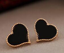 Iconic Designer Enamel Heart Earrings White or Black 18k Gold Ep Valentines 6-05