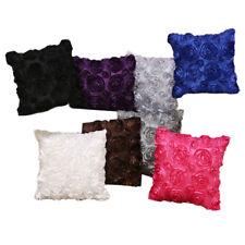 TY 2Pcs Satin Rose Flower 3D Pillow Cushion Pillowcase Case Cover Home Decor