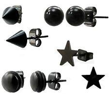 NEW MENS BLACK STEEL STUD EARRINGS BALL, DISC, STAR, SINGLE OR PAIR (N8)