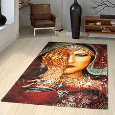Orientalischer Teppich Meliert Gabbeh Kurzflor Multifarben Frau mit Henna Hand R