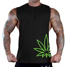 Men's Bottom Weed Leaf Black T-Shirt Tank Top High Marijuana Cannabis Blunt Kush