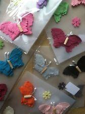 6pc Handmade Butterfly Paper Flower Scrapbooking Stickers