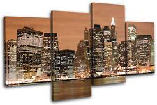 NYC New York Skyline City MULTI CANVAS WALL ART Picture Print VA