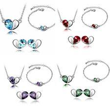 Edles Schmuck Set-Kette-Ohrringe-Armband- Swarovski Elements  Silber Halskette