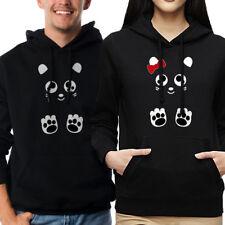 PANDA TEDDY BEAR COUPLE MATCHING LOVE VALENTINE'S DAY BLACK HOODIE SWEATSHIRT