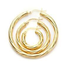 Pair - 9ct Gold Twisted Creole 3mm Tube Hoop Sleeper Hoops / Sleepers / Earrings