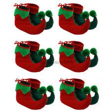 6 X Elf Botas Pixie Zapatos Navidad Fancy Dress Costume Accesorio GNOME Xmas