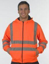 New Hi High Viz Vest Hoodie Zip Hooded Top Jacket Work M-3XL Orange Yellow