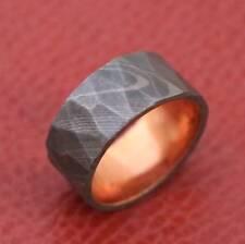 Geometric Pattern Handmade Damascus Steel Copper  Men's Wedding Engagement Band