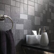 Holden Decor Glitter Tile Kitchen Bathroom Wallpaper Embossed Black 89240