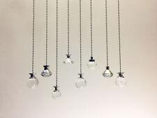 Light Pull Chain Cord Clear Crystal Chrome Bathroom Choose 100 or 200cm Chain