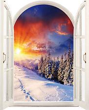 Sticker fenêtre trompe l'oeil Montagne neige 64x80cm