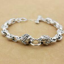 925 Sterling Silver King Lion Mens Biker Punk Charm Chain Bracelet Cuff 8G011B
