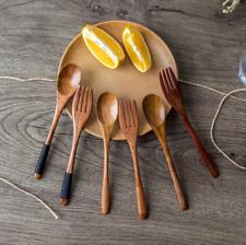 Natural Dinnerware Sets Wood Spoon And Fork Set Dessert Tableware Wooden