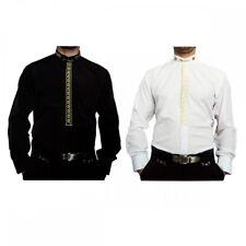 Designer Uomo Colletto Alto Camicia S5 nero bianco no-stiro con alla coreana