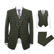 Olive Green Men's Plaid Tweed Suit Vintage Party Prom Tuxedo Dinner Suit Custom