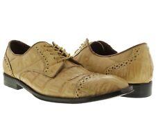 mens beige dolce pelle crocodile alligator skin dress shoes oxford wing tip