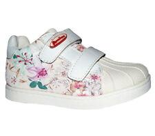 Neu American Club Mädchen Kinder Sneaker Halbschuhe Klettverschluss Beige Weiß