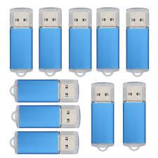 10 Pack Rectangle 1GB/2GB/4GB/8GB/16GB USB Flash Pen Drives Memory Stick Blue US