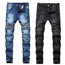 Hombre Biker Ripped Skinny Jeans Bleached Distressed Frayed Slim Denim Pants