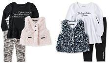 Calvin Klein Baby Girl 3-Piece Faux-Fur Vest, Top & Pants Sets 12-24m MSRP$69.50