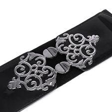 "Ladies Black Elasticated Waist Belt 2 ½"" - Waistband Buckle Stretch Retro Metal"